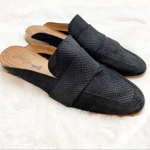 Free People At Ease Leather Mule Shoes Black 42